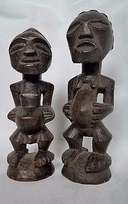African, Pair of Bakota (Kota) Male / Female Figures ~ Hand-Carved Wood