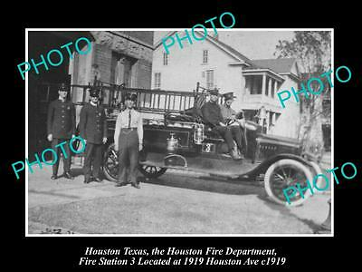 OLD LARGE HISTORIC PHOTO OF HOUSTON TEXAS, THE FIRE DEPARTMENT STATION No3 1919