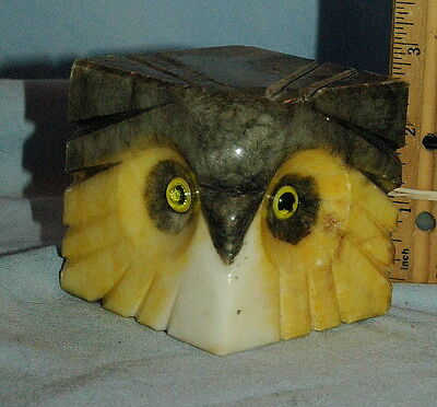 Unusual Vintage Yellow, White, Gray Onyx Carved Owl Head Paperweight / Figure