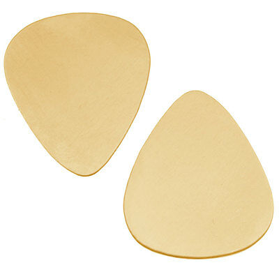 Solid Brass Blank Stamping 'Guitar Pick' No Hole 30.5x25.5mm (2)