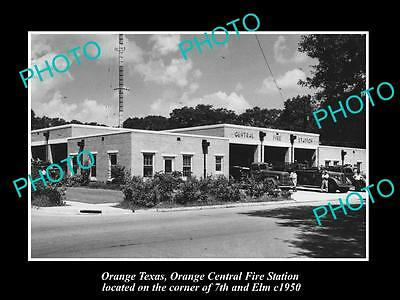 OLD LARGE HISTORIC PHOTO OF ORANGE TEXAS, CENTRAL FIRE DEPARTMENT STATION c1950