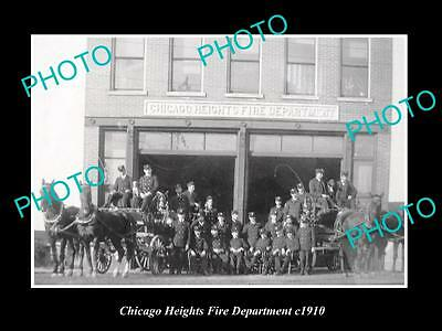 OLD LARGE HISTORIC PHOTO OF THE CHICAGO HEIGHTS FIRE DEPARTMENT STATION c1910