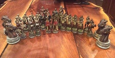 31 Cowboy and Indian Figurine Chess Pieces & 4 Horse Head Stands - Free Shipping