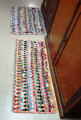 Colorful Vintage Handmade Multicolored Folded Cotton Rag Rug & Pillow Tick back