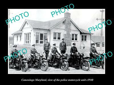 Old Large Historic Photo Of Conowingo Maryland, The Police Motorcycle Squad 1940