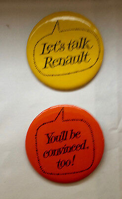 2 Renault Auto Advertising Pinback buttons -Late 1960's Buttons