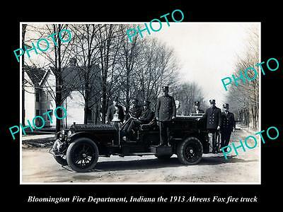OLD LARGE HISTORIC PHOTO OF BLOOMINGTON INDIANA, THE FIRE DEPARTMENT TRUCK c1913