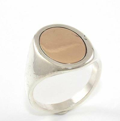 Sterling Silver 14K Yellow Gold Oval Plain Signet Ring Size 8