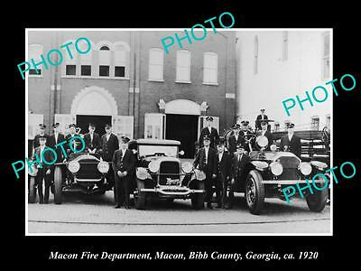 OLD LARGE HISTORIC PHOTO OF MACON GEORGIA, THE FIRE DEPARTMENT STATION c1920