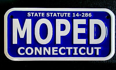 State Statute 14-286-Moped-Connecticut-New Embossed Metal Bike Plate/sign