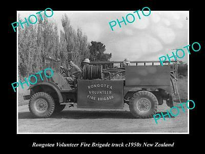 OLD LARGE HISTORIC PHOTO OF RONGOTEA FIRE BRIGADE TRUCK, 1950s NEW ZEALAND