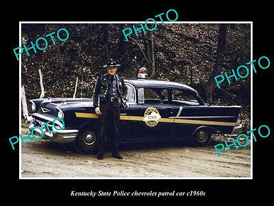 OLD LARGE HISTORIC PHOTO OF THE KENTUCKY STATE POLICE CHEVROLET PATROL CAR c1960