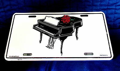 CONCERT PIANO Decorated by a Dozen ROSES- EMBOSSED METAL LICENSE PLATE SIGN-NEW