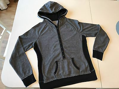 Women's Hoodie In Grey With Black Trim, Size 12-14