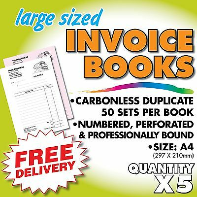 5 X Tax Invoice / Quote Duplicate Books - A4 Size