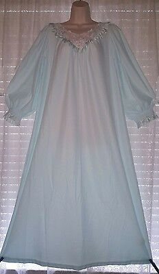 Vtg Blue Miss Elaine Silver Tag Embroidered Lace Nightgown Gown Negligee LARGE