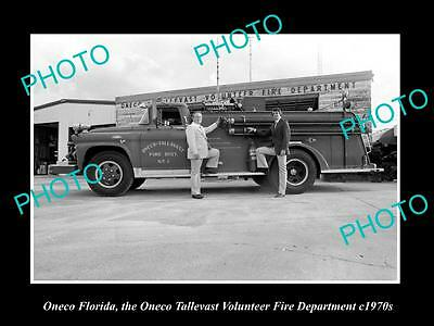 OLD LARGE HISTORIC PHOTO OF ONECO FLORIDA, THE FIRE DEPARTMENT STATION c1970s 2
