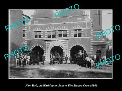 OLD LARGE HISTORIC PHOTO OF NEW YORK, THE WASHINGTON SQUARE FIRE STATION c1900 1