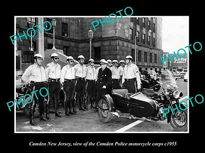 OLD LARGE HISTORIC PHOTO OF CAMDEN NEW JERSEY, THE POLICE MOTORCYCLE SQUAD c1955