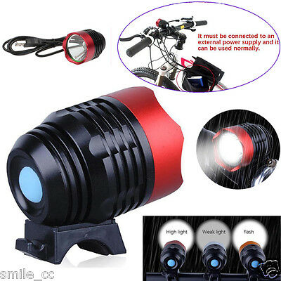 3000LM XM-L T6 LED 3 Mode ZOOMABLE USB Interface Bike Bicycle Light Headlamp