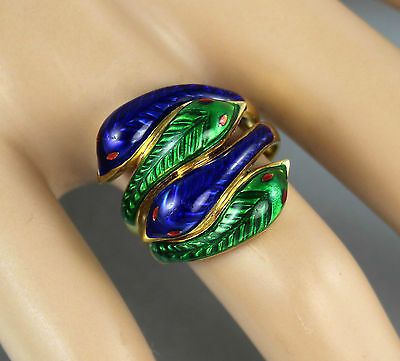 Solid 18Ct Gold With Blue And Green Guilloche Enamel Snake / Serpent Ring