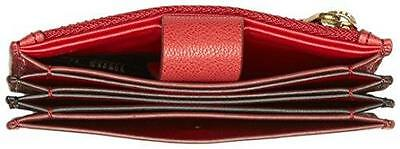 Nwt! Fossil Mini Tab Leather Card Holder Coin Purse Wallet Red