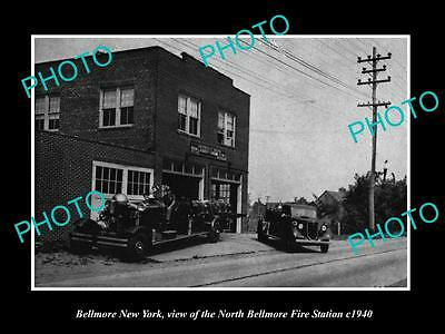 OLD LARGE HISTORIC PHOTO OF BELLMORE NEW YORK, THE FIRE DEPARTMENT STATION c1940