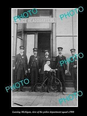 OLD LARGE HISTORIC PHOTO OF LANSING MICHIGAN, THE POLICE HEADQUARTERS c1908