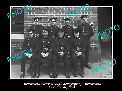 Old Large Historic Photo Of Williamstown Fire Brigade, 1928 Melbourne Victoria