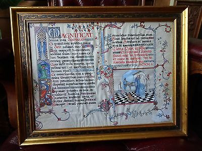 Arts and Crafts hand painted illuminated manuscript, 1914, in original frame