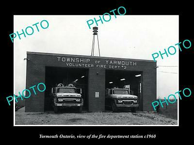 OLD LARGE HISTORIC PHOTO OF YARMOUTH ONTARIO CANADA, THE FIRE STATION c1960