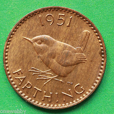 1951 George VI Farthing UNC Uncirculated SNo39593
