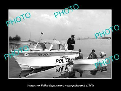 OLD LARGE HISTORIC PHOTO OF VANCOUVER CANADA, THE WATER POLICE BOAT c1960s