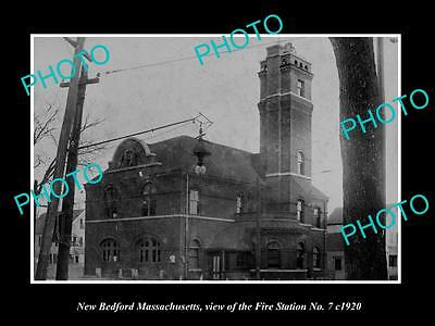 OLD LARGE HISTORIC PHOTO OF NEW BEDFORD MASSACHUSETTS, THE FIRE STATION c1920 2
