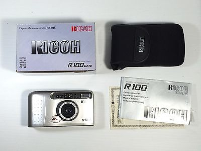 Ricoh R100 Date, 35mm film, color plata, f3,9/30mm, nueva N.O.S