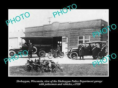 OLD LARGE HISTORIC PHOTO OF SHEBOYGAN WISCONSIN, THE POLICE DEPARTMENT c1920