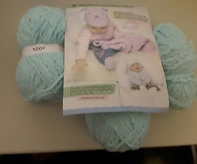 Sean Sheep Yarn and Pattern for Baby Hat, Slippers, & Comforter set