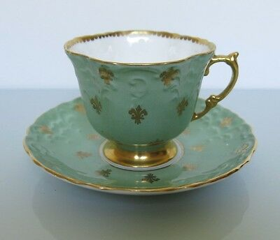 C1930 Vintage AYNSLEY FINE BONE CHINA TEA CUP + SAUCER - Green + Gold Gilt