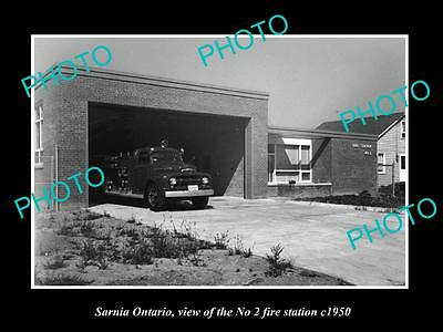 OLD LARGE HISTORIC PHOTO OF SARNIA ONTARIO, CANADA, THE No 2 FIRE STATION c1950