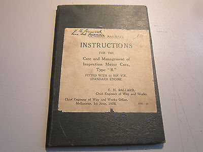 1926 Vic. Rail Bklt. Instructions Care And Management Of Inspection Motor Cars