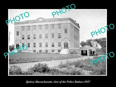 OLD LARGE HISTORIC PHOTO OF QUINCY MASSACHUSETTS, THE POLICE STATION c1927