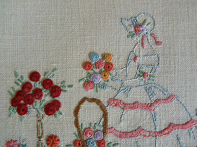 CRINOLINE LADY w/ Basket & Rose Bush Vintage Hand Embroidered Small Doily