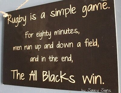 NEW! Simple Game Rugby Sign Kiwi New Zealand All Blacks Football Sign