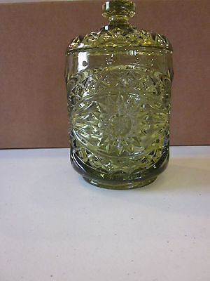 Vintage Imperial Glass Green Hobstar Small Cookie Cracker Jar Canister With Lid