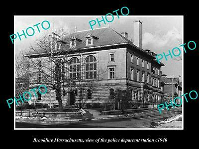 OLD LARGE HISTORIC PHOTO OF BROOKLINE MASSACHUSETTS, THE POLICE STATION c1940