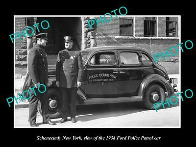 OLD LARGE HISTORIC PHOTO OF SCHENECTADY NEW YORK, THE FORD POLICE CAR c1938