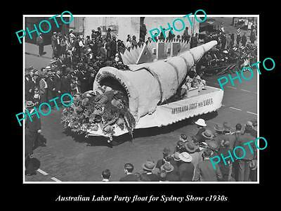 OLD LARGE HISTORIC PHOTO OF AUSTRALIAN LABOR PARTY FLOAT, SYDNEY SHOW c1930s