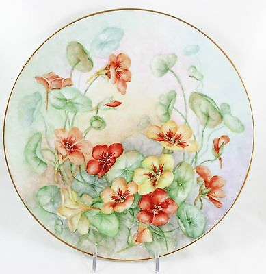 Special Artist Hand Painted Large Coupe Plate Flowers Orange Green Gold Bavaria