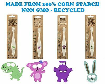 Jack n Jill Toothbrush  made from 100% corn starch (non GMO)..