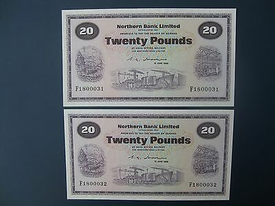 2No. SUPERB 1988 NORTHERN (N.IRELAND) £20 BANKNOTES FRESH aUNC & aUNC/UNC